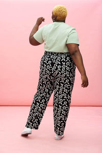 Lucy & Yak trousers Kia Trousers in Black & White Floral Print in Organic Cotton