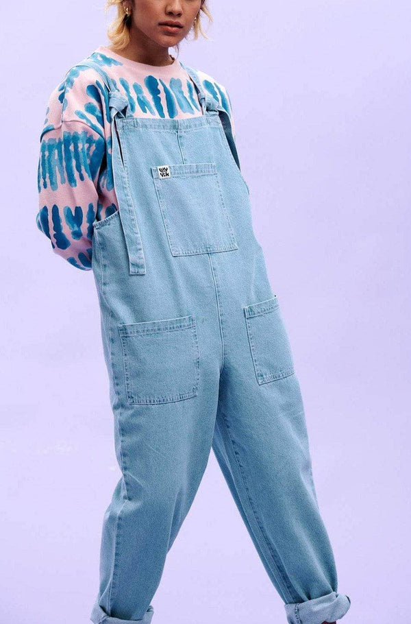 Lucy & Yak Dungarees 'Atlas' Organic Denim Dungarees in Light-Wash Blue