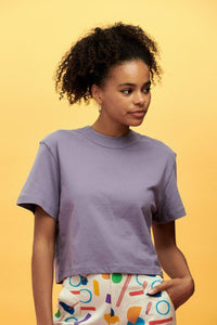 Lucy & Yak TOP Zola Longer length Boxy Cut Organic Cotton Tee in Purple Sage