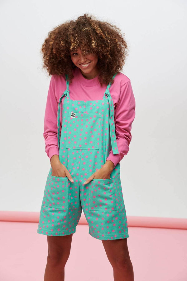 Lucy & Yak Dungarees River Print Chance Dungaree Shorts