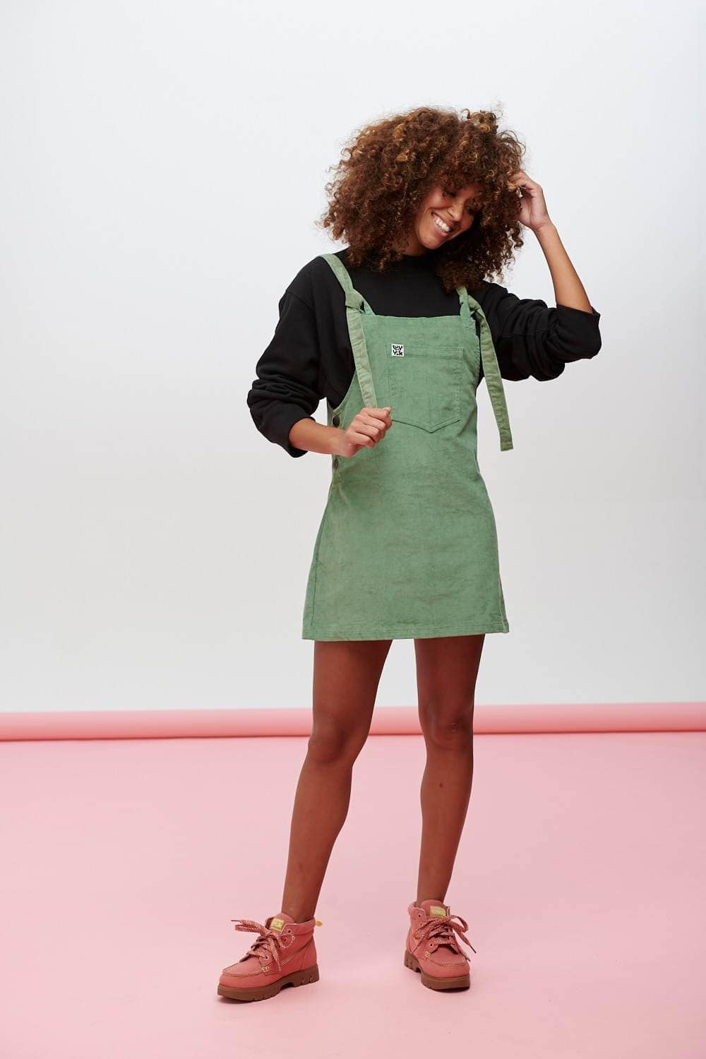 Lucy & Yak Dress Organic Corduroy Mini Pini Dress In Green Bay