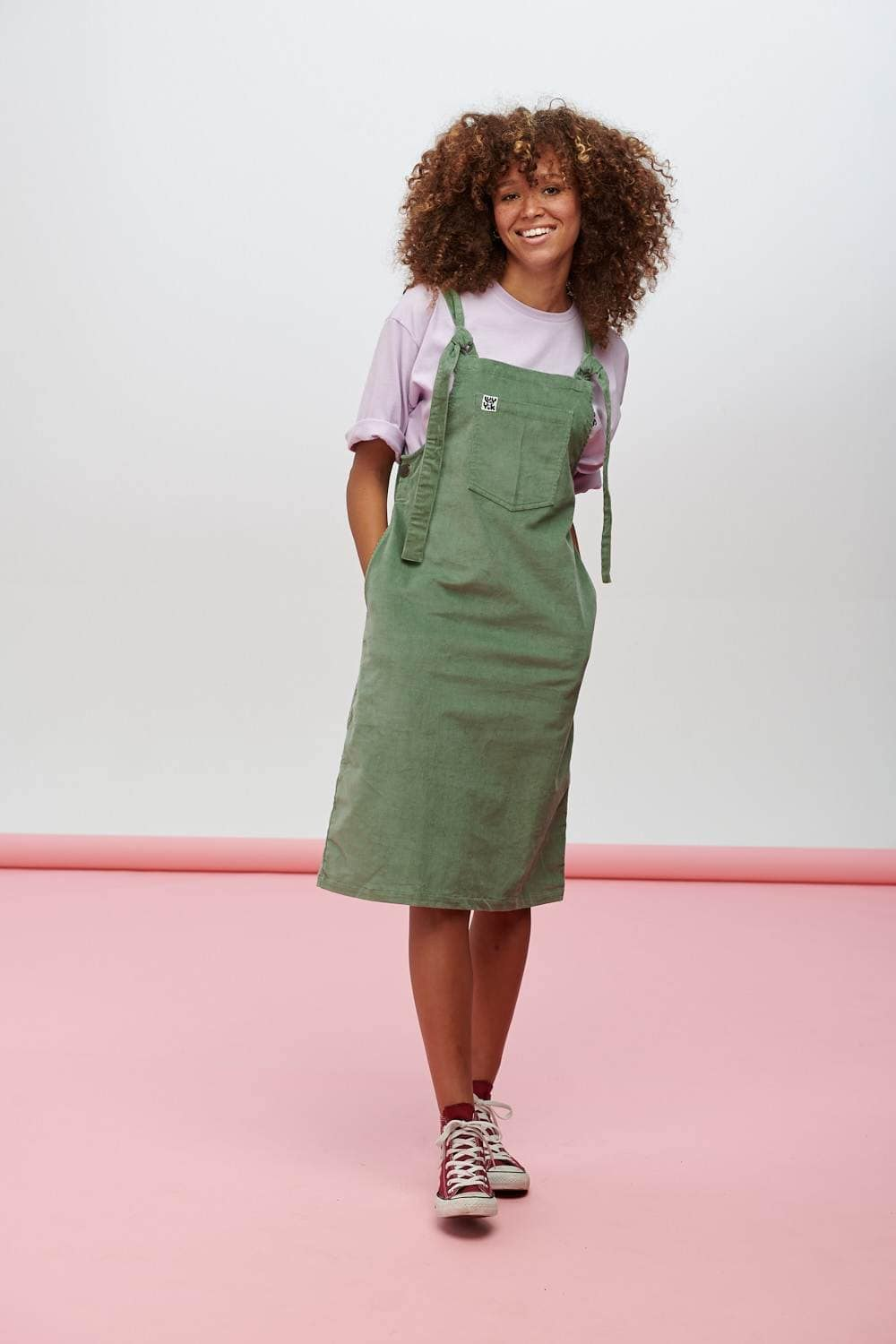 Lucy & Yak Dress Freyja Midi Dress In Green Bay