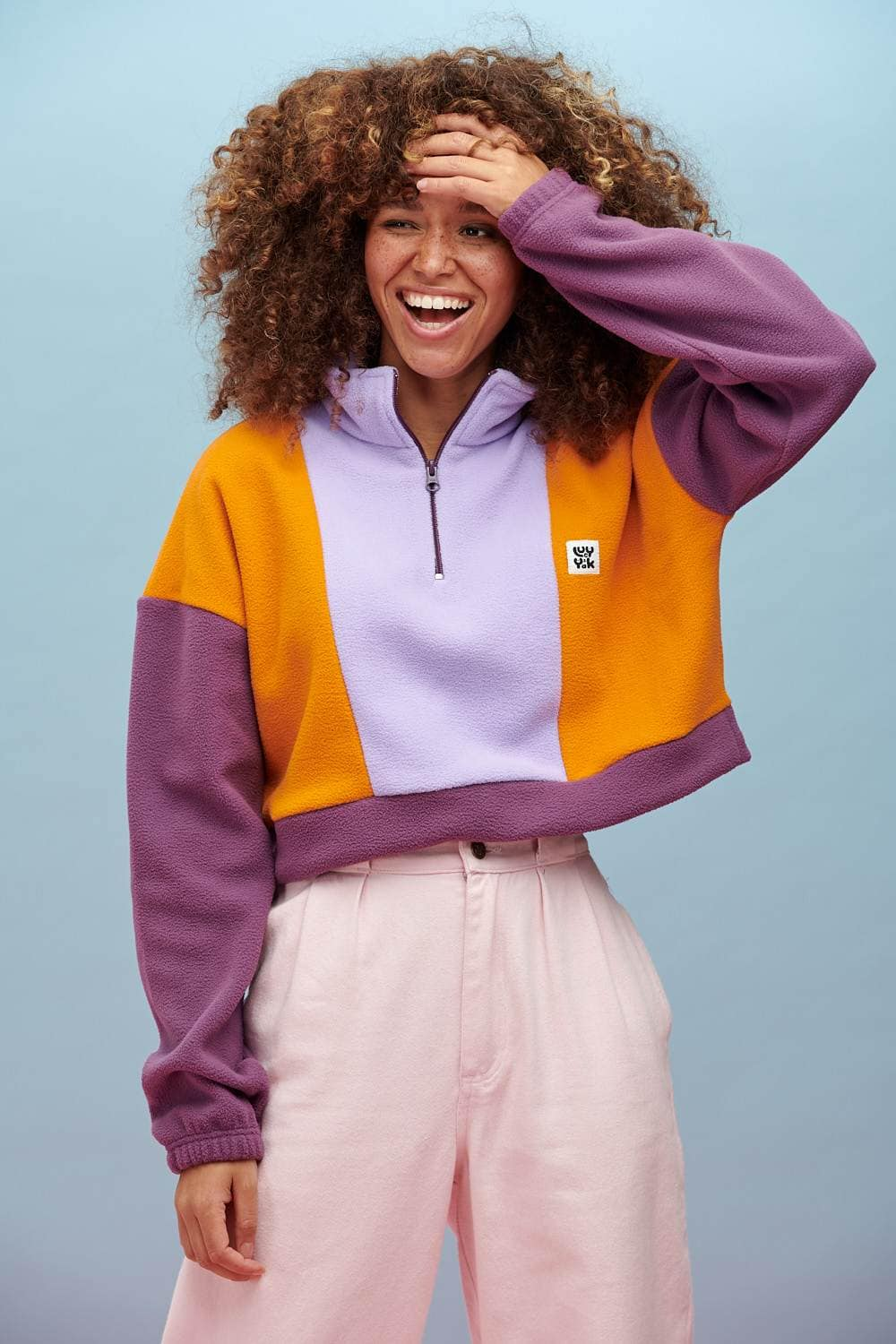 Lucy & Yak Fleeces Blake Recycled Cropped Fleece In Orange, Orchid Bloom & Grape