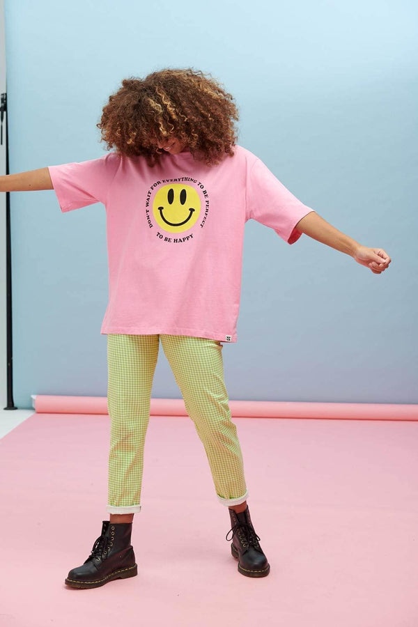 Lucy & Yak Tops Benny Oversized Tee In Don't Wait... Smile Print