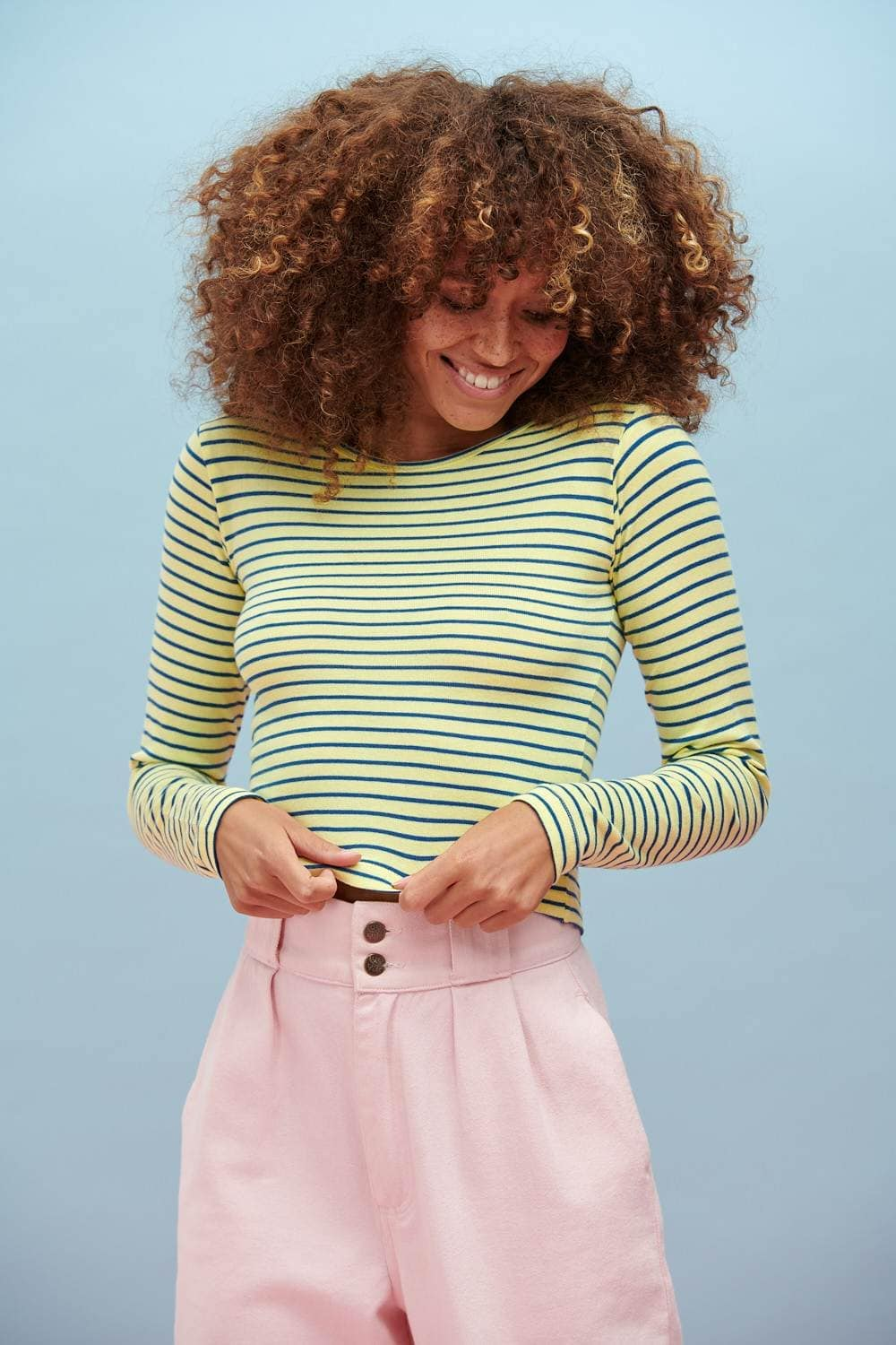 Lucy & Yak Tops Rey Long Sleeved Top In Blue & Yellow Stripes