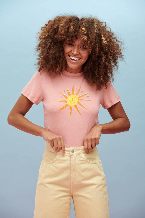 Lucy & Yak Tops Maya Tee In Hello Sunshine Print