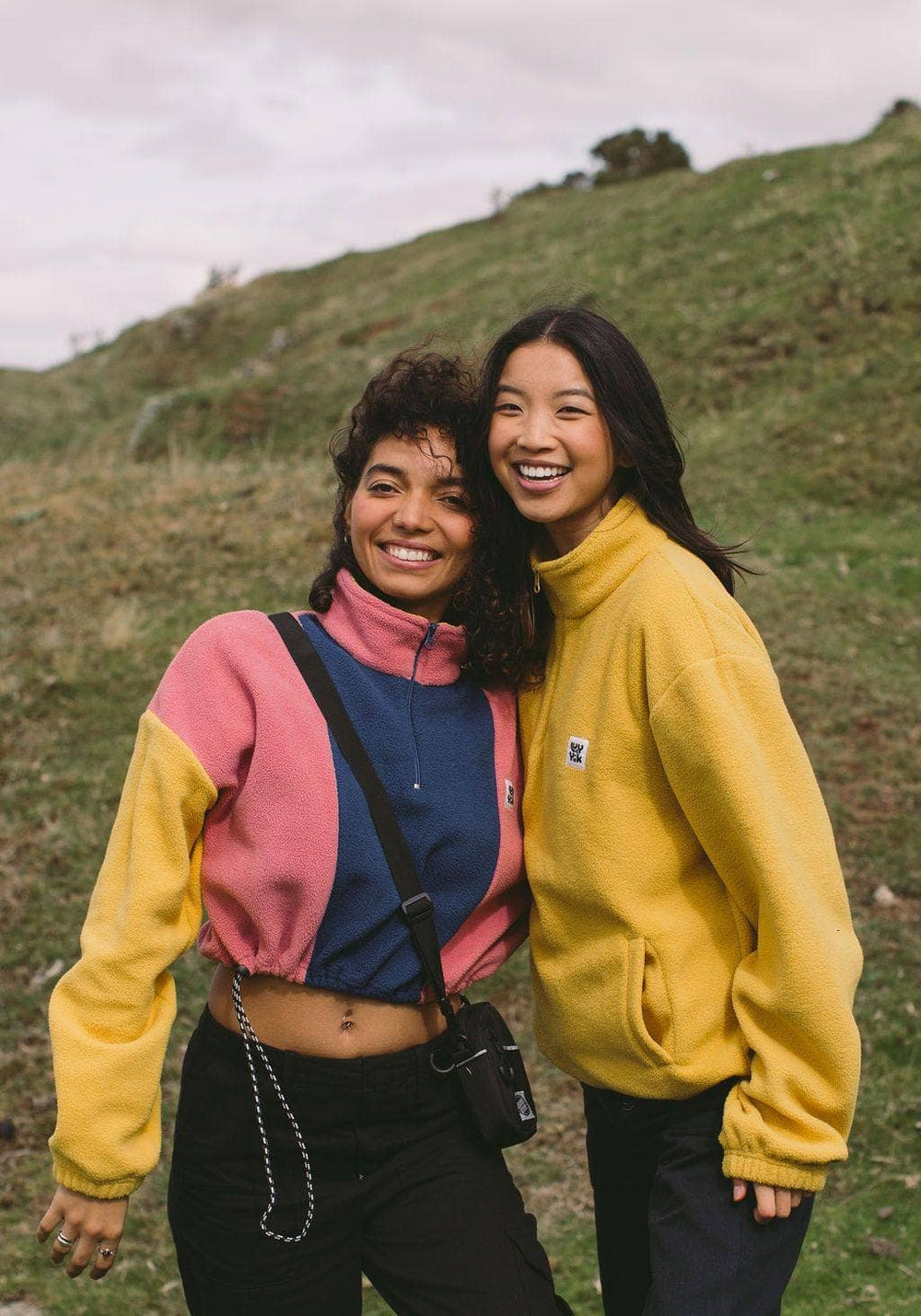 Lucy & Yak Tops 'Blake' Cropped Fleece in Pink, Navy & Mustard