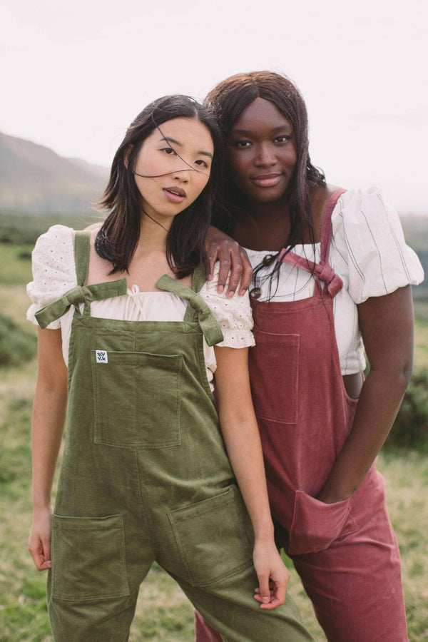 Lucy & Yak Organic Dungarees 'The Organic Original' Corduroy Dungarees in Olive Green
