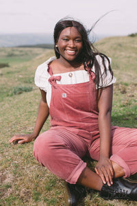 Lucy & Yak Organic Dungarees 'The Organic Original' Corduroy Dungarees in Ash Pink