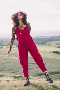 Lucy & Yak Organic Dungarees 'The Organic Original' Corduroy Dungarees in Berry