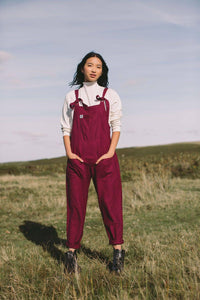 Lucy & Yak Cotton Dungarees Organic 'Umi' Cotton Dungarees in Maroon