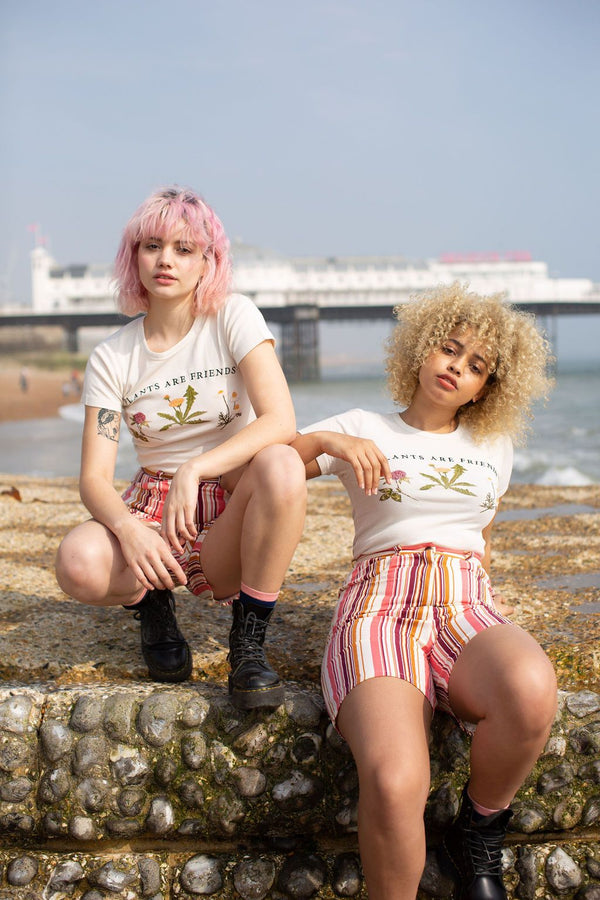Lucy & Yak shorts 'Neo' Organic Cotton High Waisted Shorts In Pink Stripe