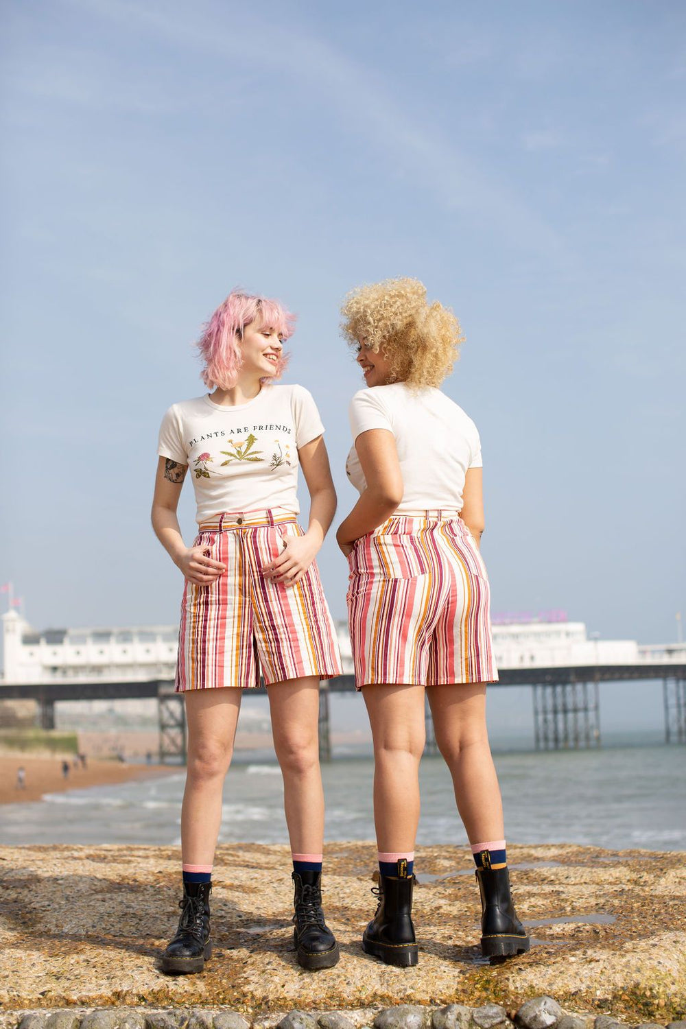'Neo' High Waisted Shorts In Pink Stripe