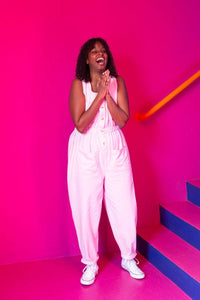 Lucy & Yak Boilersuit 'Juni' Organic Cotton Twill Jumpsuit in Pink