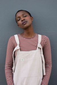 Lucy & Yak Organic Dungarees Tall - 'The Organic Original' Corduroy Dungarees In Cream