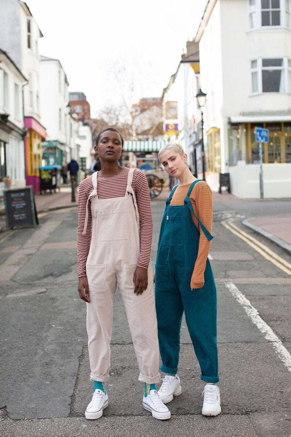 'The Organic Original' Corduroy Dungarees in Teal