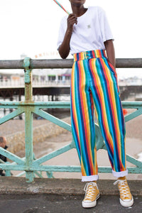 'Addison' High Waisted Organic Cotton Twill Jeans in Rainbow Stripe