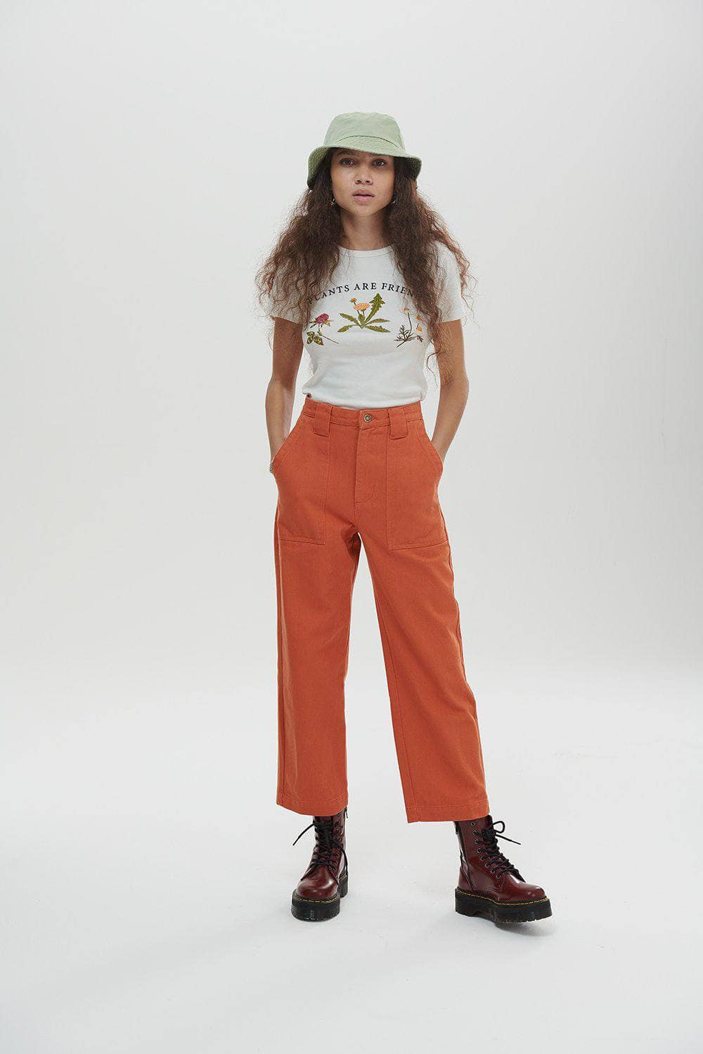 Lucy & Yak jeans 'Logan' High Rise Organic Jeans in Rust