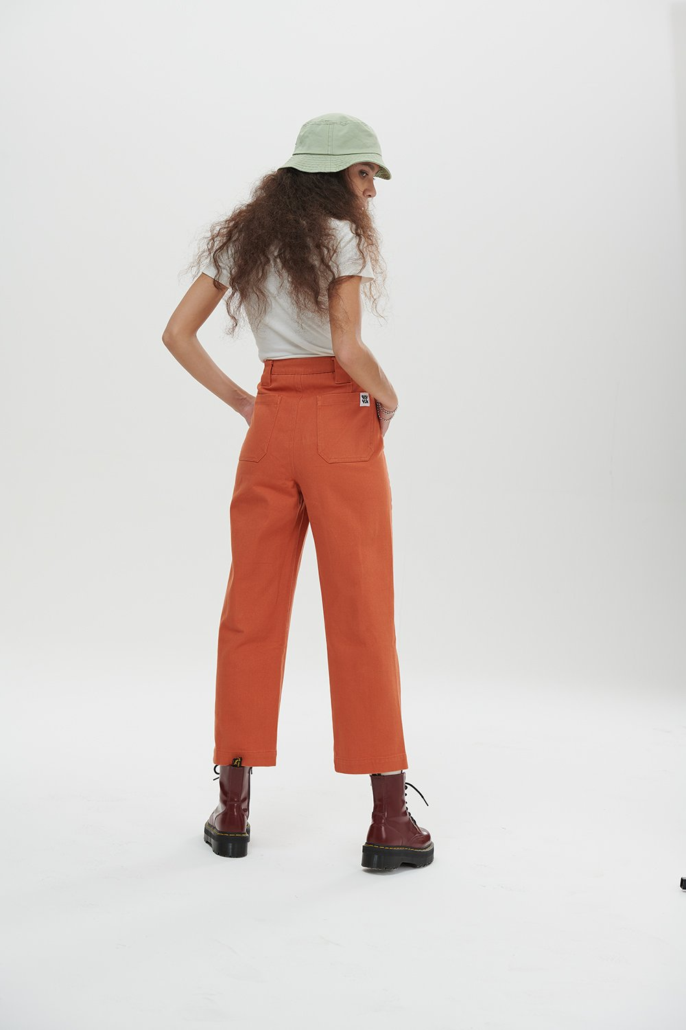 Lucy & Yak trousers 'Logan' Mid Rise Cargo Pants In Rust