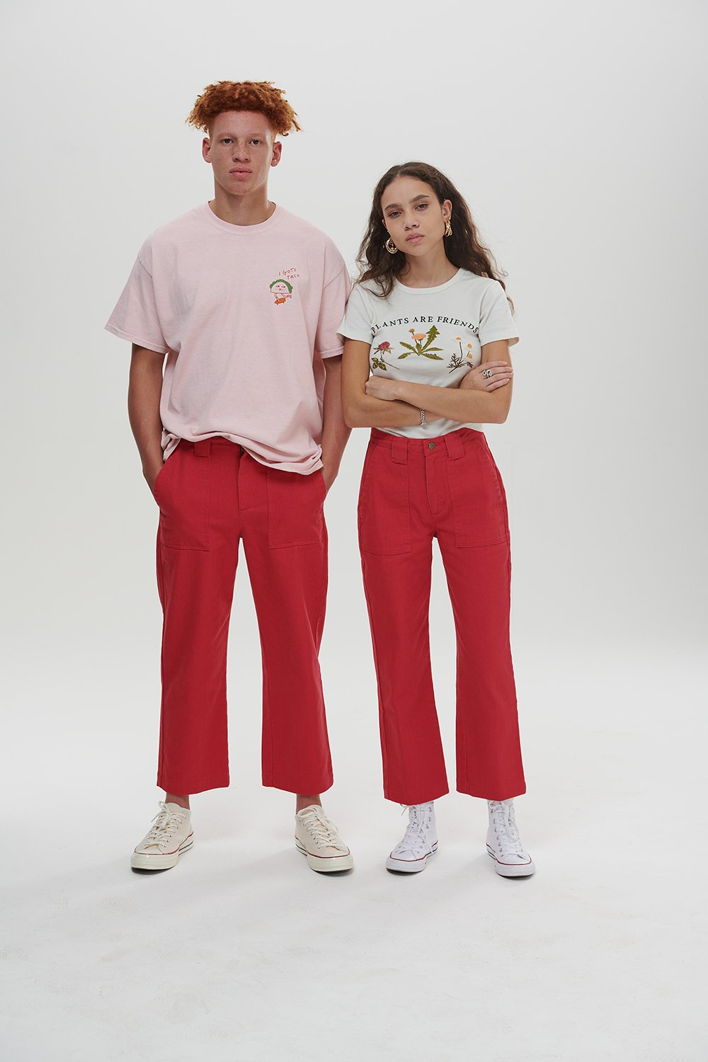Lucy & Yak trousers 'Logan' Mid Rise Cargo Pants In Pink