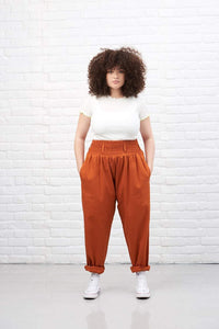 Lucy & Yak cotton trousers 'Alexa' Lightweight Organic Cotton Trousers In Rust Orange