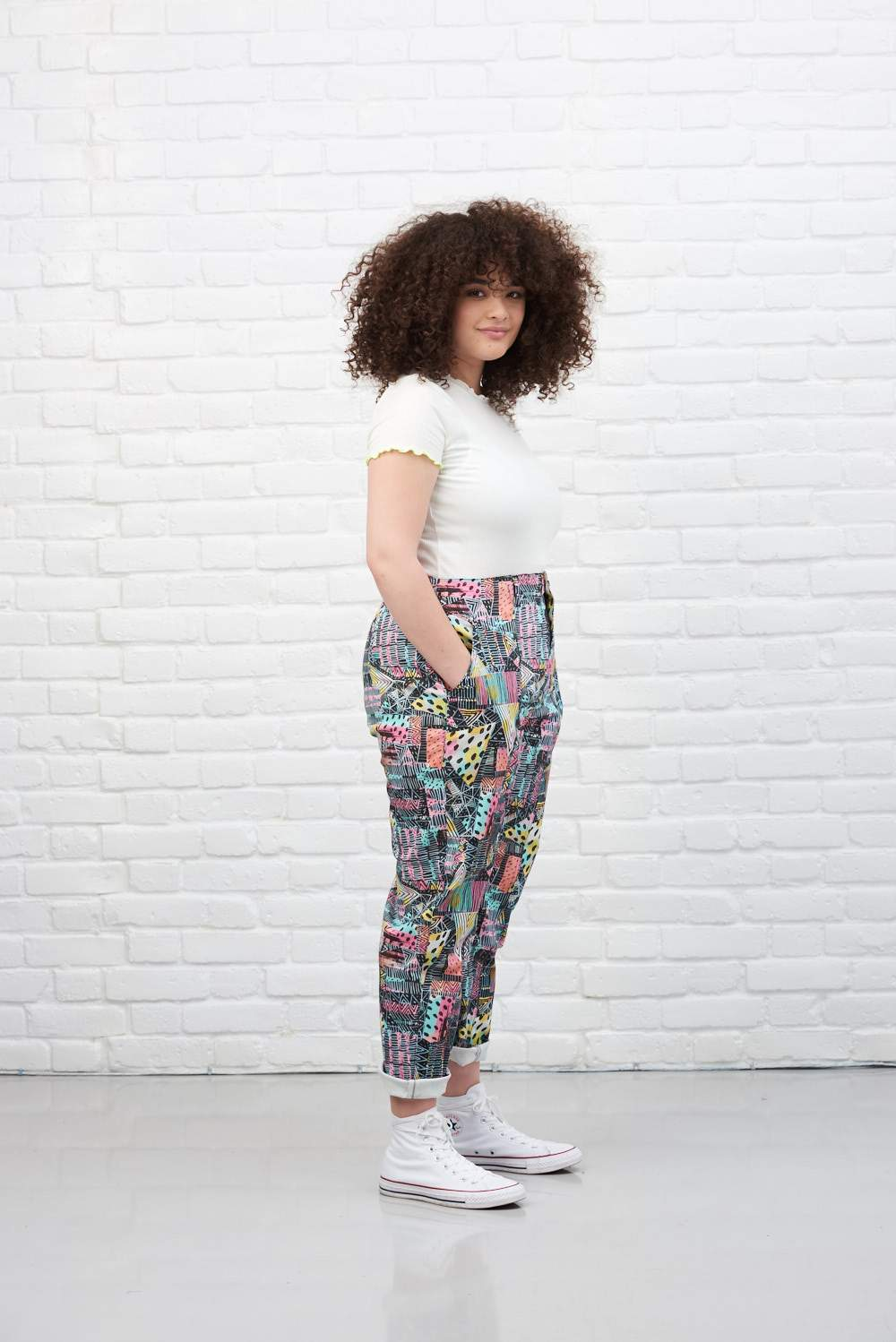 Lucy & Yak trousers 'Octavia' L&Y X EWA Collab High Waisted Trousers in Black Print