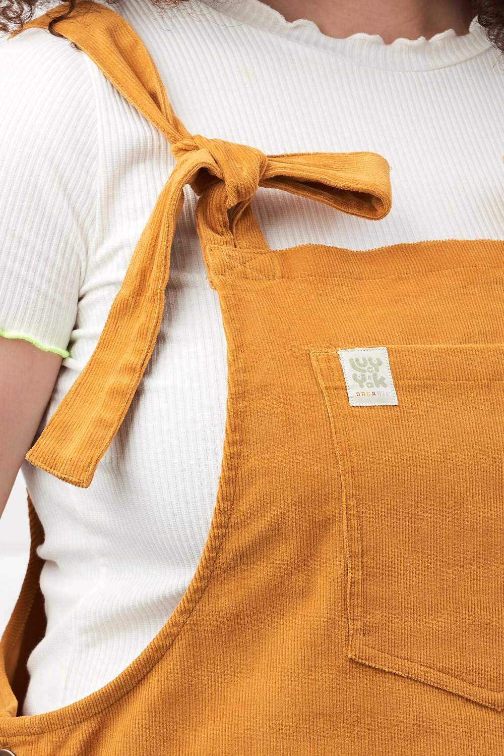 'Organic Mini Pini' Corduroy Dress in Sunshine Mustard