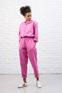 Lucy & Yak Dungarees Frankie Oversized Organic Boilersuit in Pink