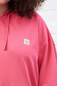 Lucy & Yak Tops 'Jesse' Oversized Organic/Recycled Hoodie in Hot Pink