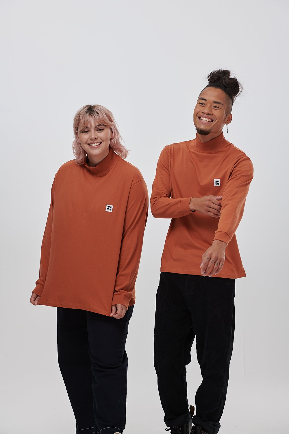 Lucy & Yak Tops 'Riley' Organic Cotton High Neck Top in Rust