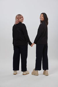 Lucy & Yak Tops 'Riley' Organic Cotton High Neck Top in Black