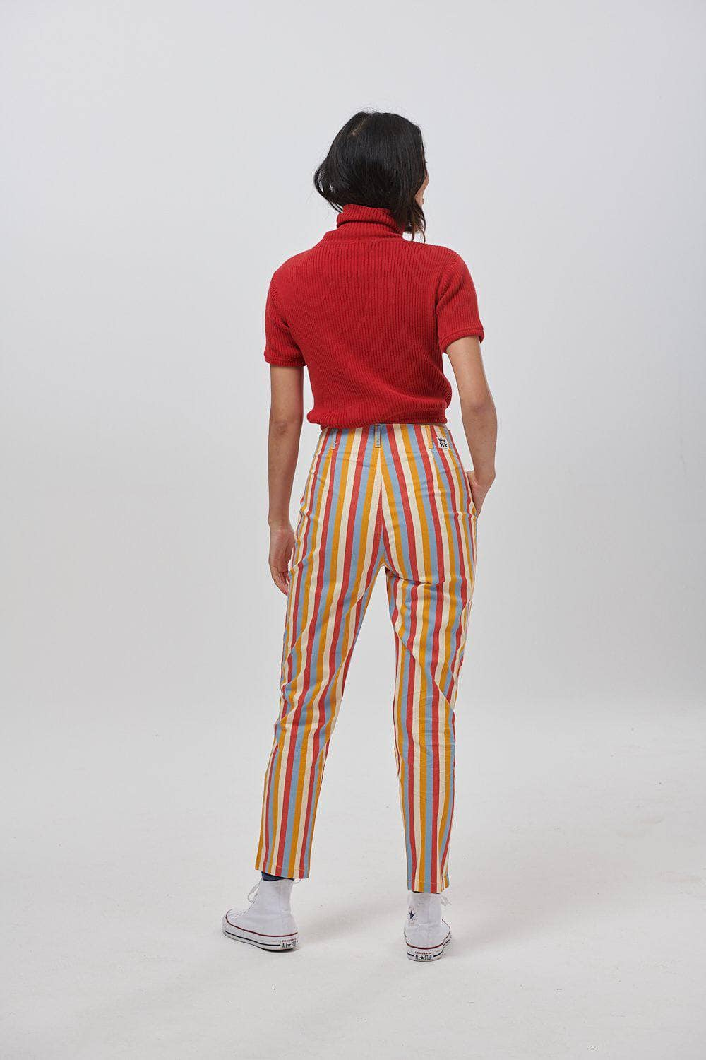 Lucy & Yak trousers Camden High Waisted Trousers in Cream & Red Stripe