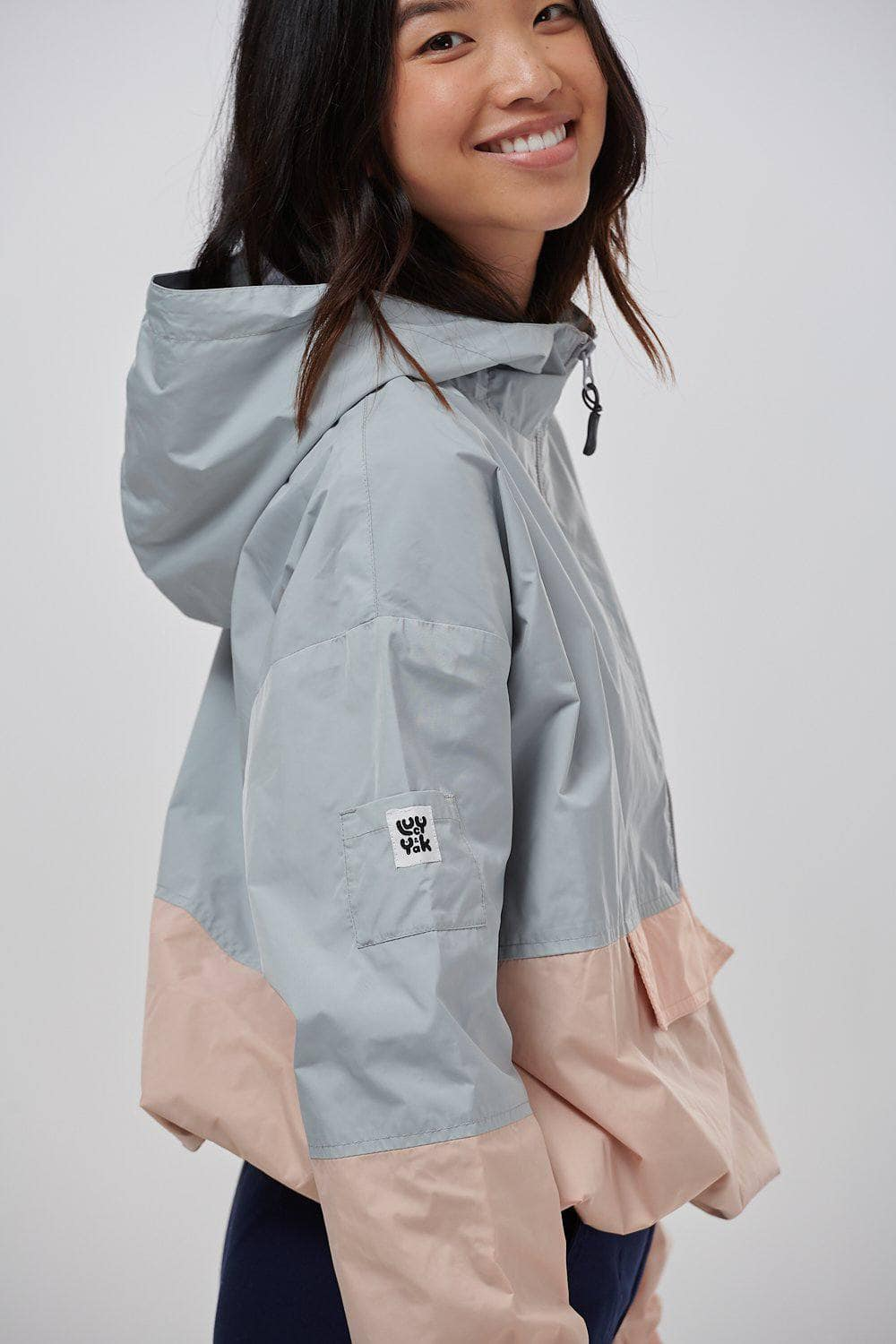 Lucy & Yak coat 'Ashton' Cropped Windbreaker Jacket in Pink And Grey