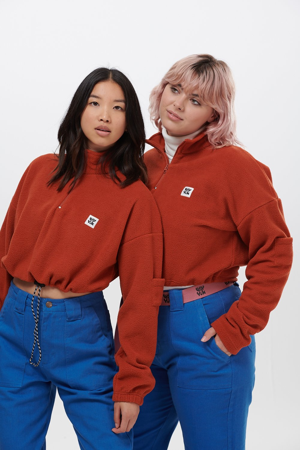 Lucy & Yak Tops 'Blake' Cropped Fleece in Rust Orange