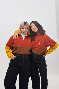 Lucy & Yak Tops 'Blake' Cropped Fleece in Brown, Rust Orange & Mustard