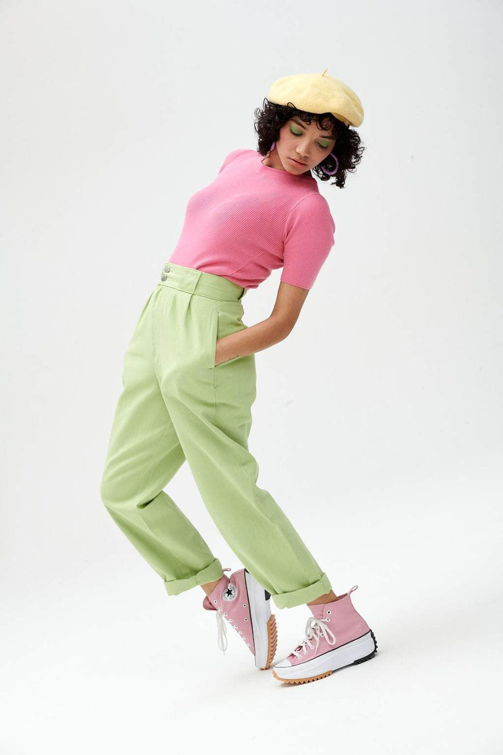 Lucy & Yak trousers Addison Organic Cotton Trousers In Sour Apple Green