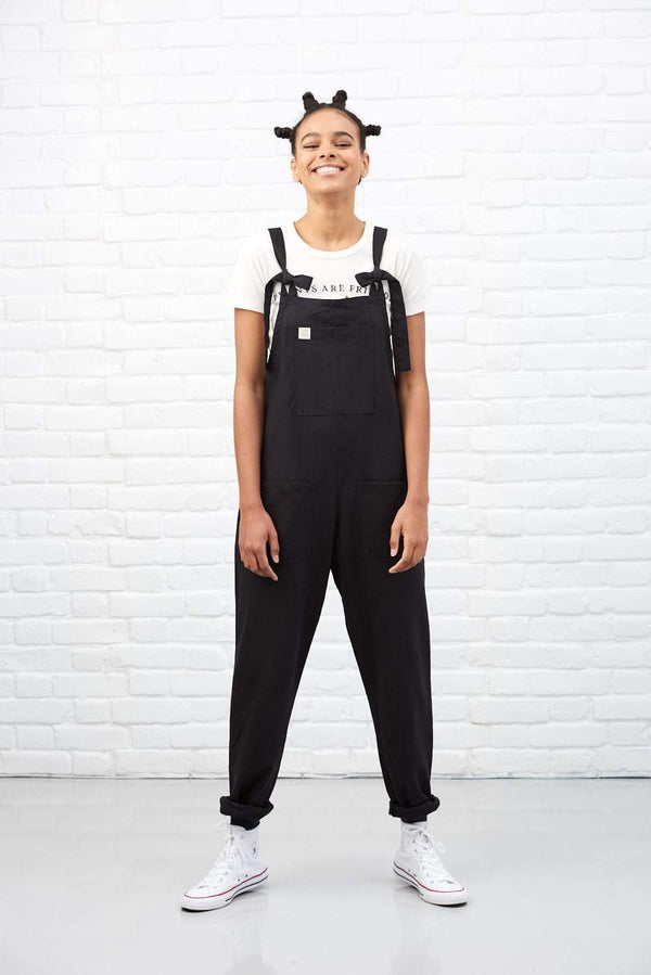 Organic 'Umi' Cotton Dungarees in Midnight Black