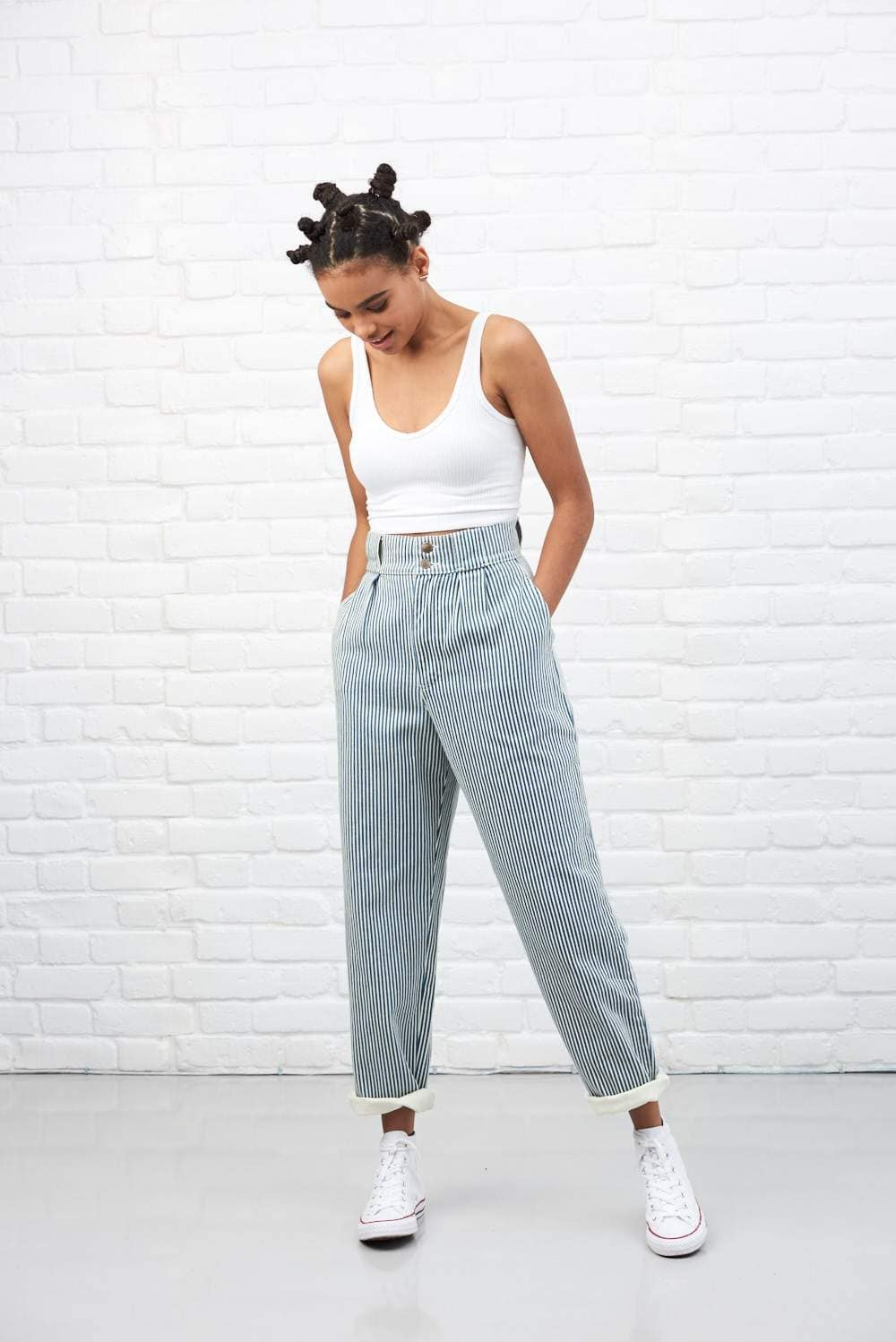 comfortable feel huge range of get online 'Addison' High Waisted Organic Cotton Twill Jeans in Blue Stripe