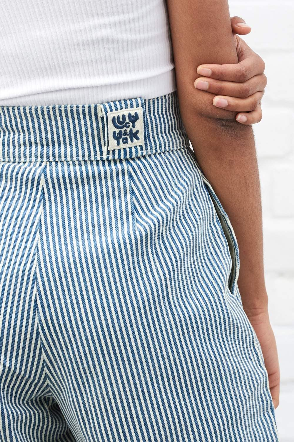 'Addison' High Waisted Organic Cotton Twill Jeans in Blue Stripe