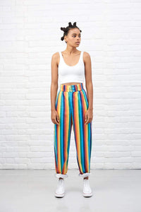 Lucy & Yak jeans 'Addison' High Waisted Organic Cotton Twill Jeans in Rainbow Stripe