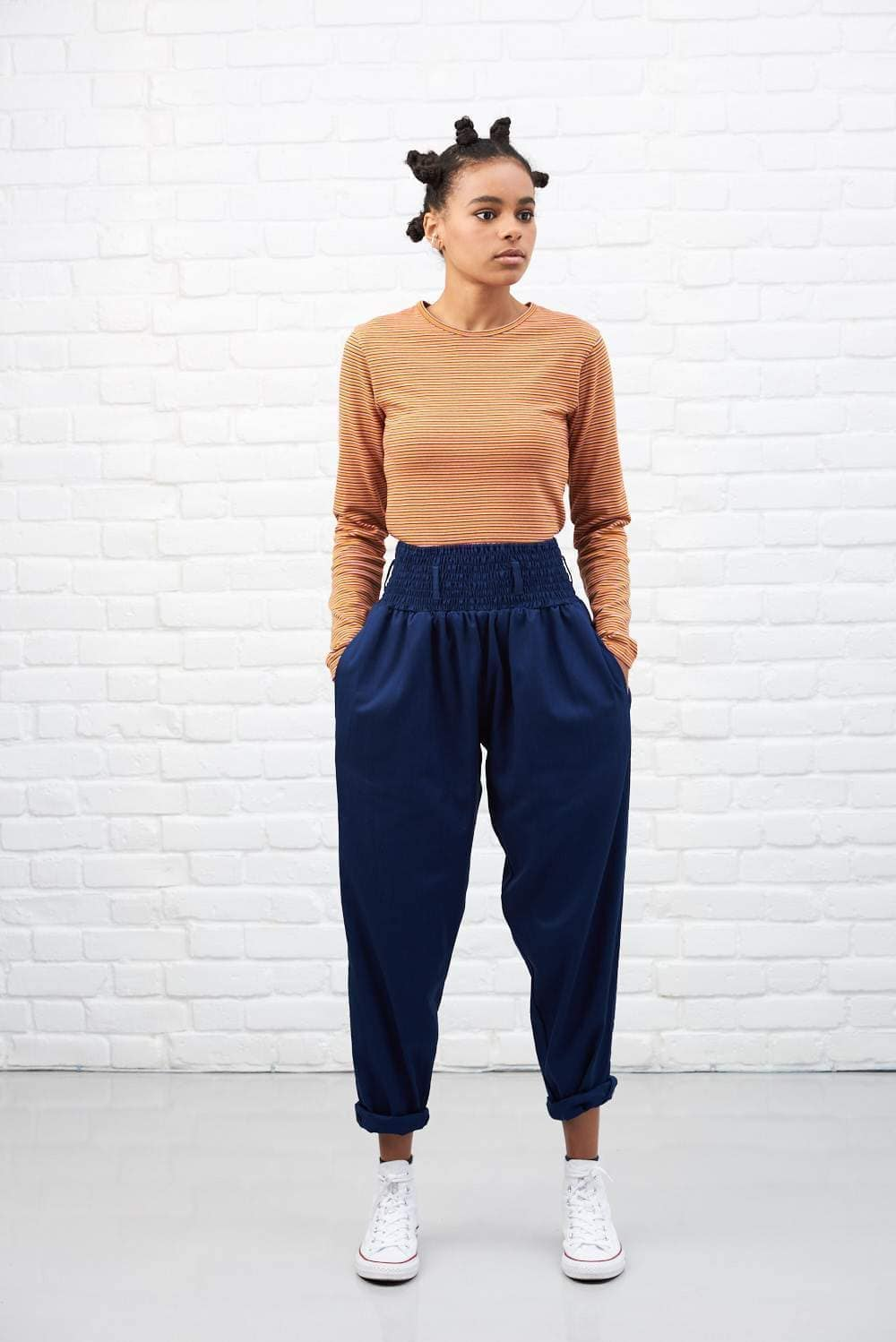 Lucy & Yak cotton trousers 'Organic Alexa' in Ink Blue High Waisted Trousers
