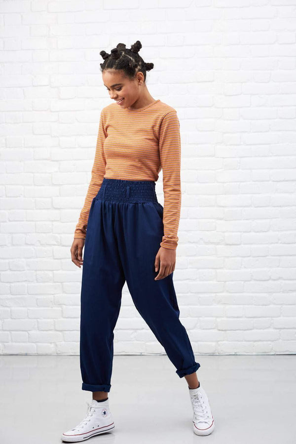 'Organic Alexa' in Ink Blue High Waisted Trousers