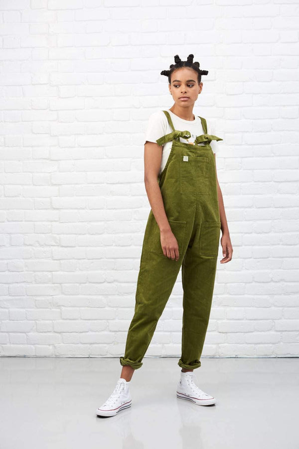 'The Organic Original' Corduroy Dungarees in Olive Green