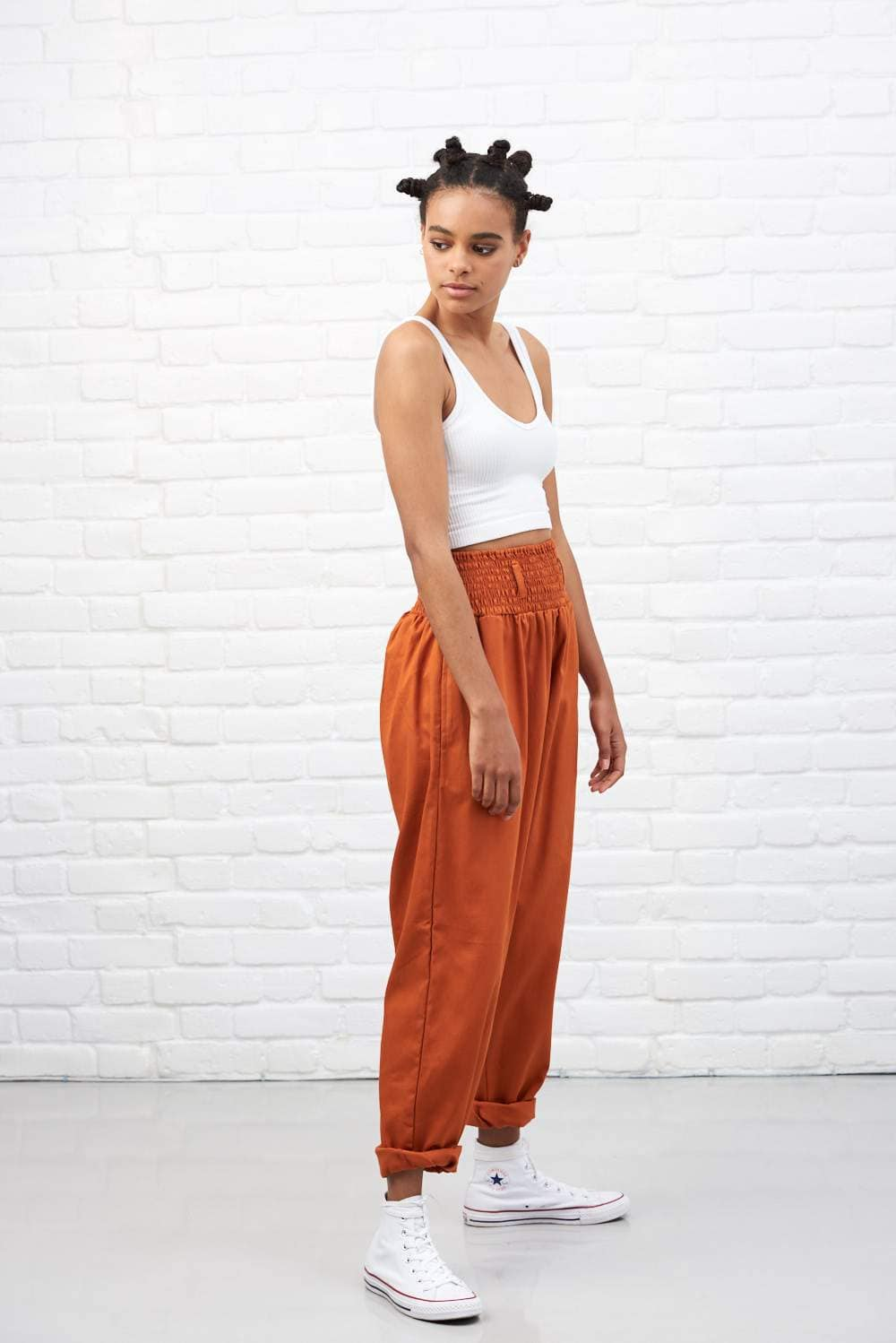 Lucy & Yak cotton trousers 'Organic Alexa' in Rust Orange High Waisted Trousers