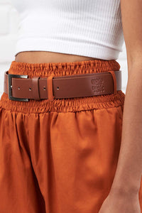High Waisted Faux Leather Belt in Tan