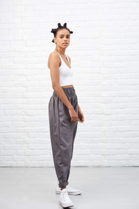 Lucy & Yak cotton trousers 'Organic Alexa' High Waisted Trousers in Storm Grey