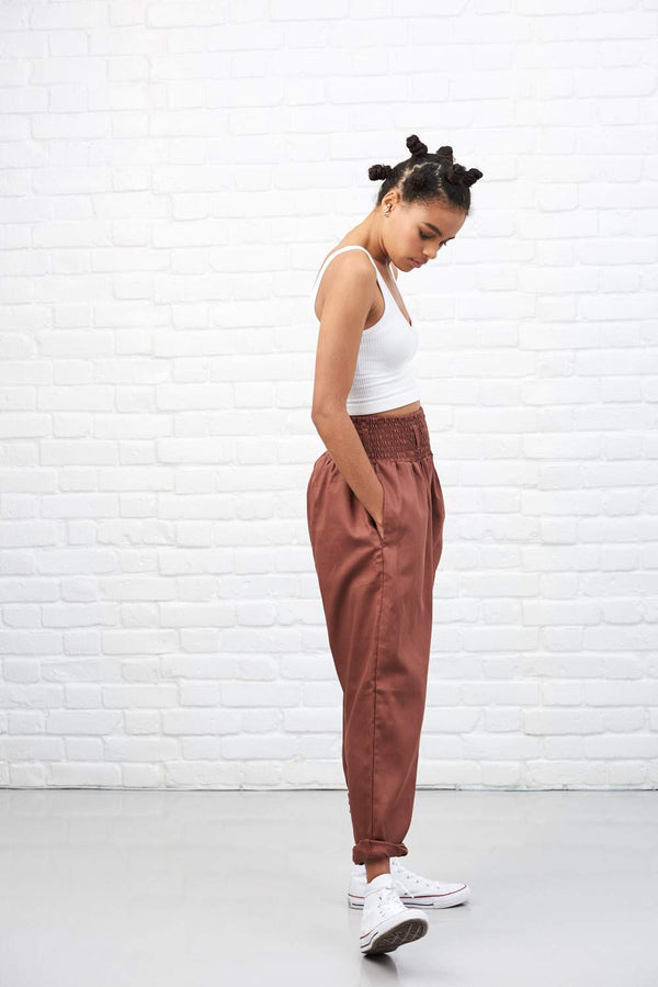 Lucy & Yak cotton trousers 'Organic Alexa' in Mink High Waisted Trousers