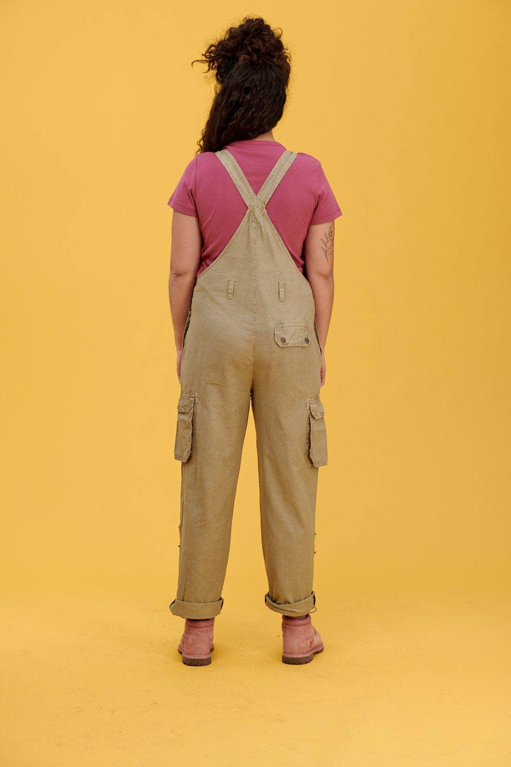 Lucy & Yak Dungarees 'Colorado' Cargo Dungarees in Sand - Tall