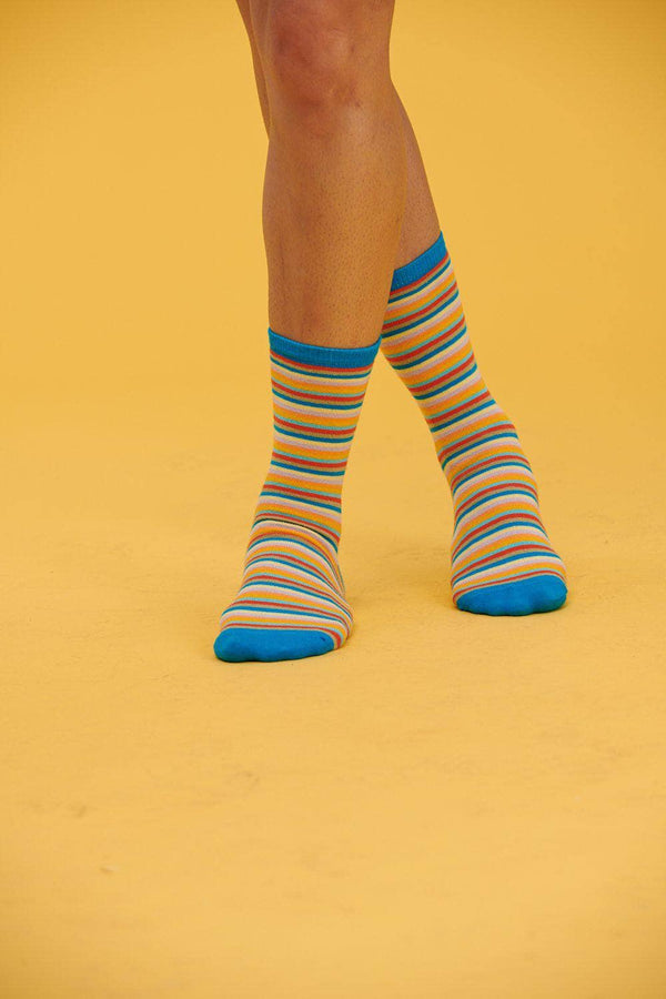 Lucy & Yak Socks The Sundaze Collection - Brad Organic Cotton Socks In Multi Colored Stripes