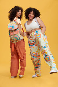 Lucy & Yak trousers The Sundaze Collection - 'Matchu' Cargo Parts in Print Skyline Print
